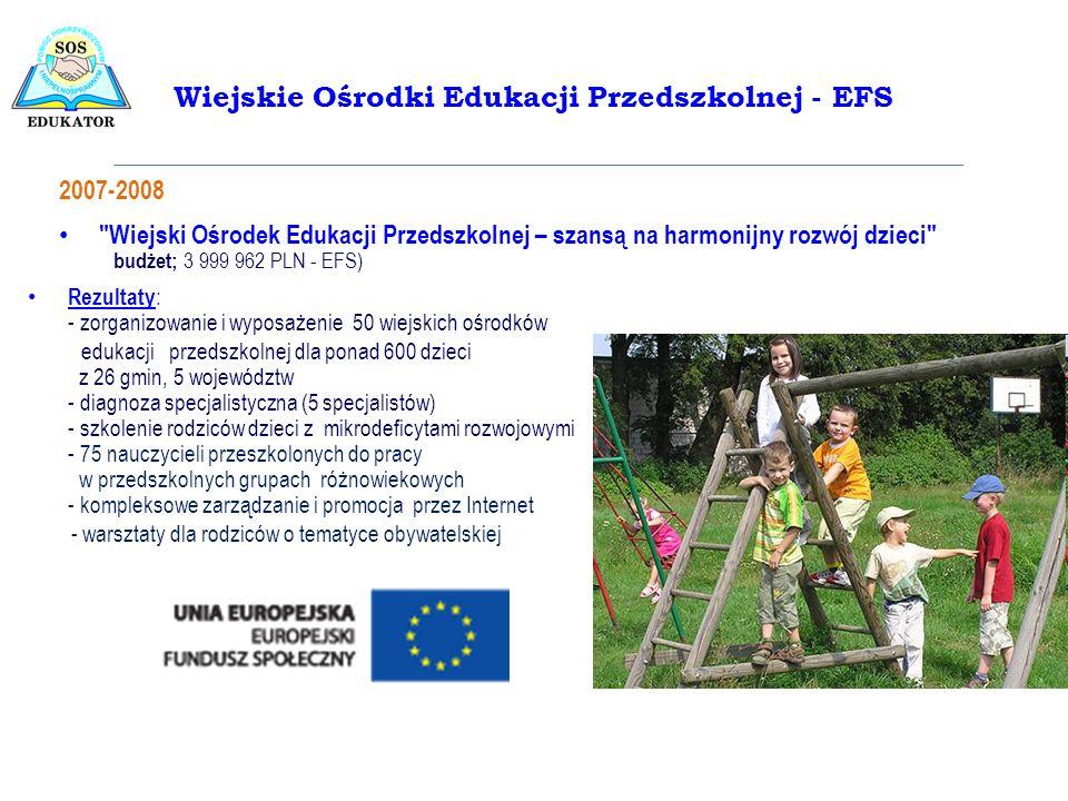 Rezultaty : - zorganizowanie i wyposażenie 50 wiejskich ośrodków edukacji przedszkolnej dla ponad 600 dzieci z 26 gmin, 5 województw - diagnoza specja
