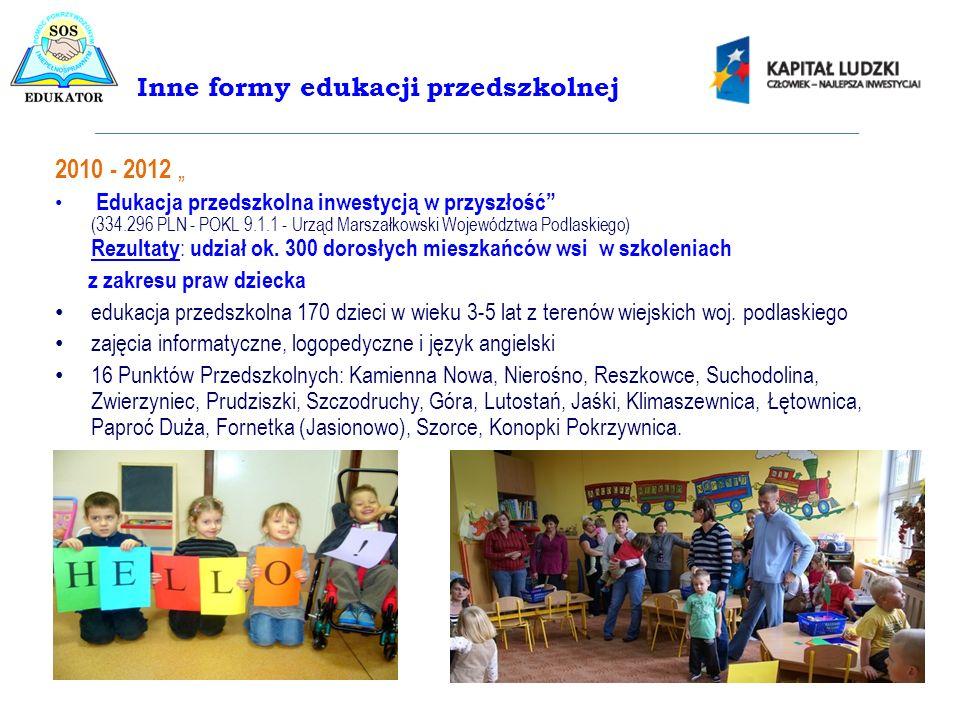 2010 - 2012 Edukacja przedszkolna inwestycją w przyszłość (334.296 PLN - POKL 9.1.1 - Urząd Marszałkowski Województwa Podlaskiego) Rezultaty : udział