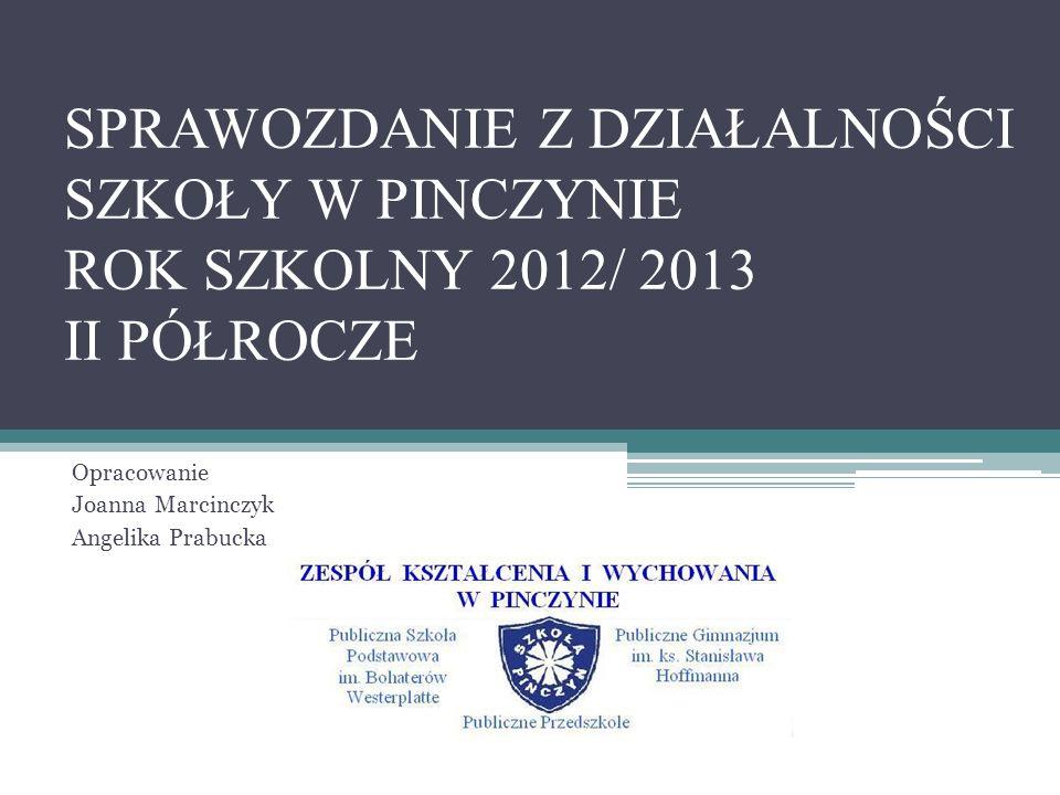 SPRAWOZDANIE Z DZIAŁALNOŚCI SZKOŁY W PINCZYNIE ROK SZKOLNY 2012/ 2013 II PÓŁROCZE Opracowanie Joanna Marcinczyk Angelika Prabucka