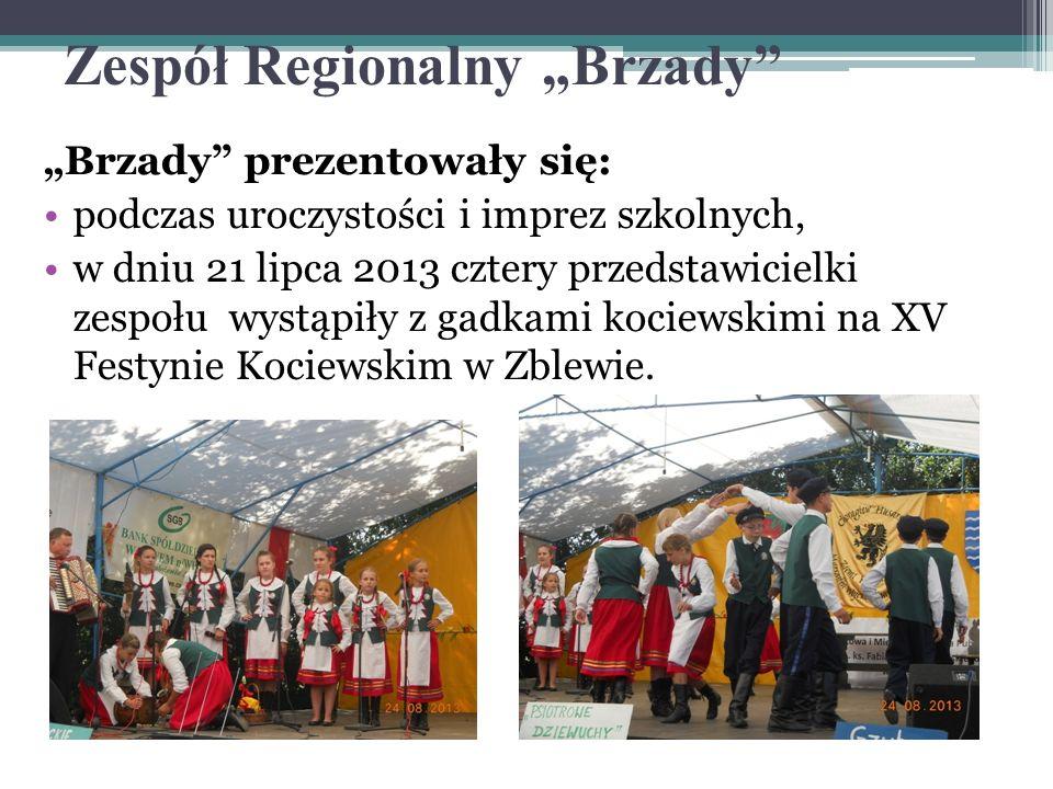 Zespół Regionalny Brzady Brzady prezentowały się: podczas uroczystości i imprez szkolnych, w dniu 21 lipca 2013 cztery przedstawicielki zespołu wystąp