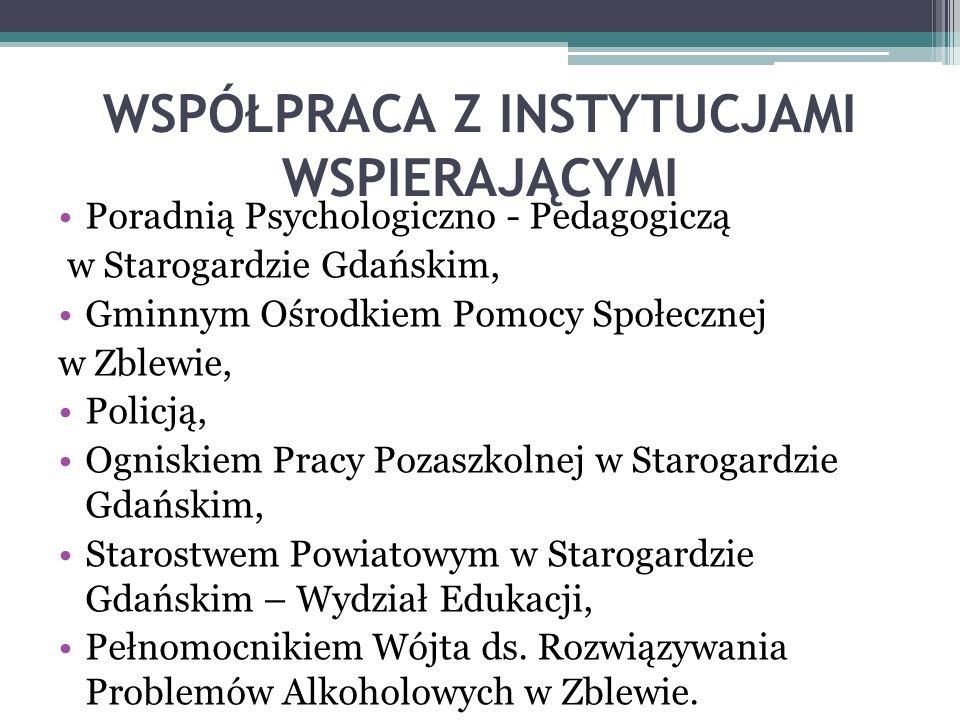 WSPÓŁPRACA Z INSTYTUCJAMI WSPIERAJĄCYMI Poradnią Psychologiczno - Pedagogiczą w Starogardzie Gdańskim, Gminnym Ośrodkiem Pomocy Społecznej w Zblewie, Policją, Ogniskiem Pracy Pozaszkolnej w Starogardzie Gdańskim, Starostwem Powiatowym w Starogardzie Gdańskim – Wydział Edukacji, Pełnomocnikiem Wójta ds.
