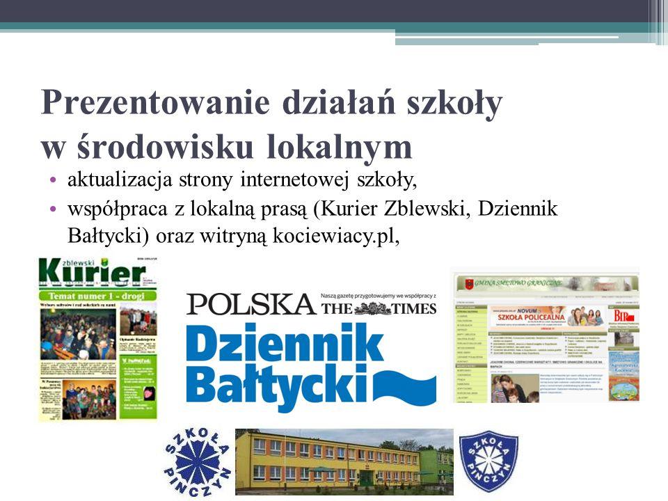 Prezentowanie działań szkoły w środowisku lokalnym aktualizacja strony internetowej szkoły, współpraca z lokalną prasą (Kurier Zblewski, Dziennik Bałtycki) oraz witryną kociewiacy.pl,