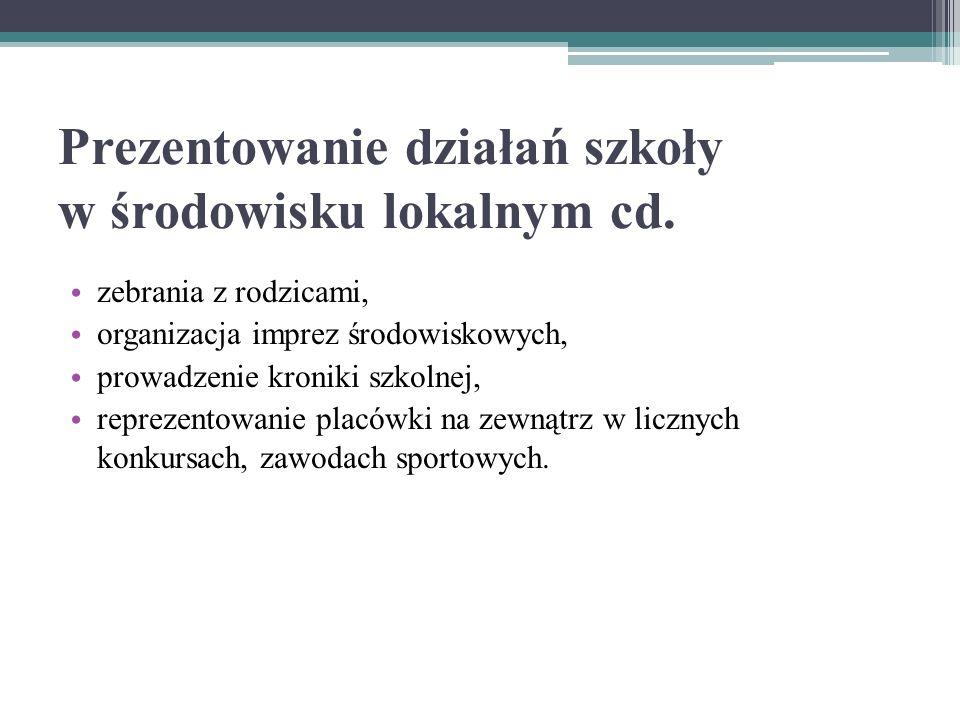 Prezentowanie działań szkoły w środowisku lokalnym cd.