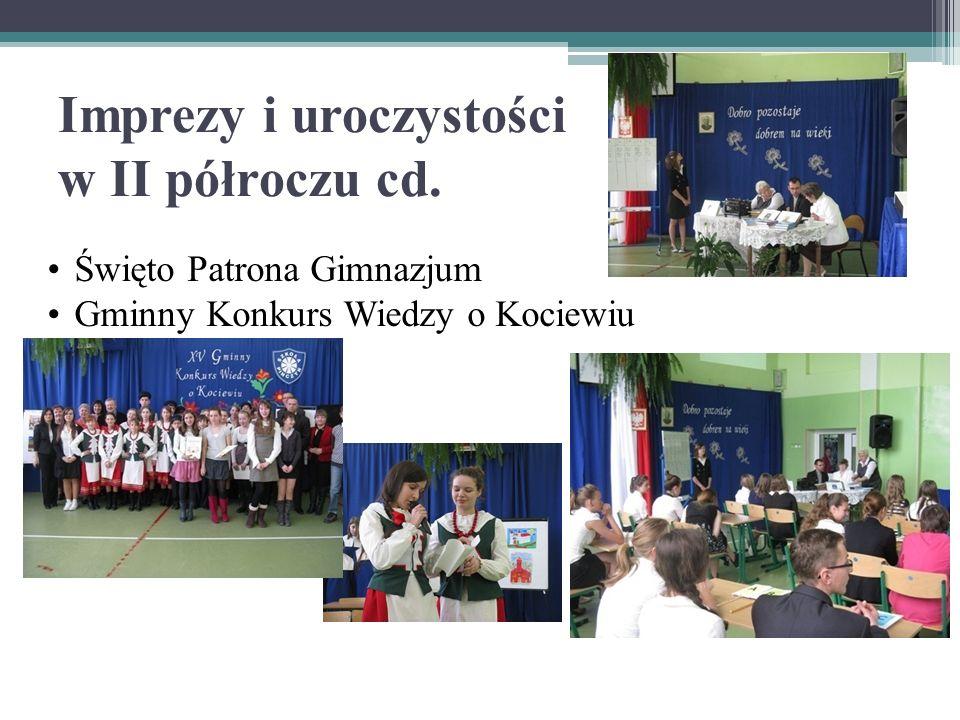 Imprezy i uroczystości w II półroczu cd. Święto Patrona Gimnazjum Gminny Konkurs Wiedzy o Kociewiu