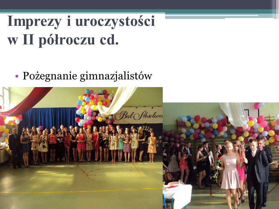 Pożegnanie gimnazjalistów Imprezy i uroczystości w II półroczu cd.
