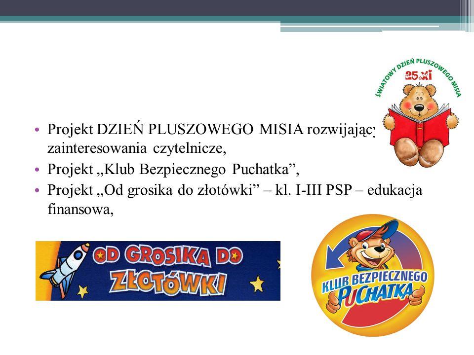 Projekt DZIEŃ PLUSZOWEGO MISIA rozwijający zainteresowania czytelnicze, Projekt Klub Bezpiecznego Puchatka, Projekt Od grosika do złotówki – kl.