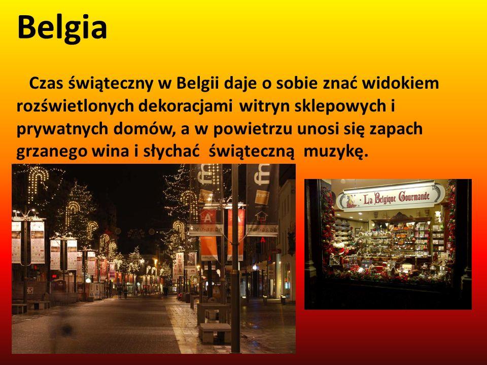 Belgia Czas świąteczny w Belgii daje o sobie znać widokiem rozświetlonych dekoracjami witryn sklepowych i prywatnych domów, a w powietrzu unosi się za