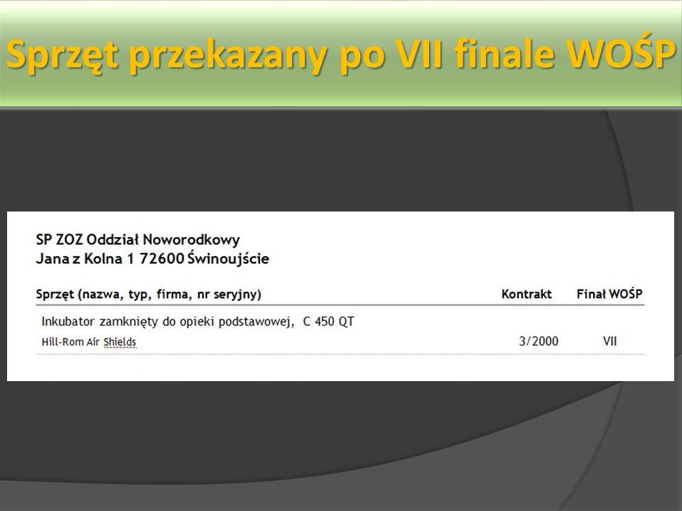 Sprzęt przekazany po VII finale WOŚP