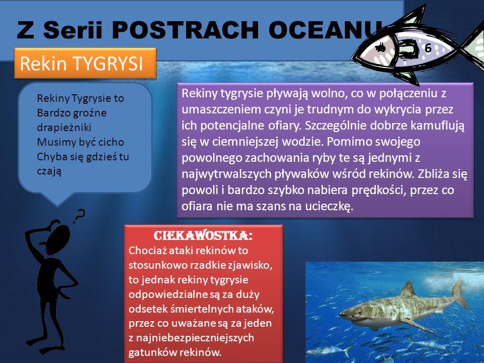 Z Serii POSTRACH OCEANU Rekin TYGRYSI Rekiny tygrysie pływają wolno, co w połączeniu z umaszczeniem czyni je trudnym do wykrycia przez ich potencjalne ofiary.