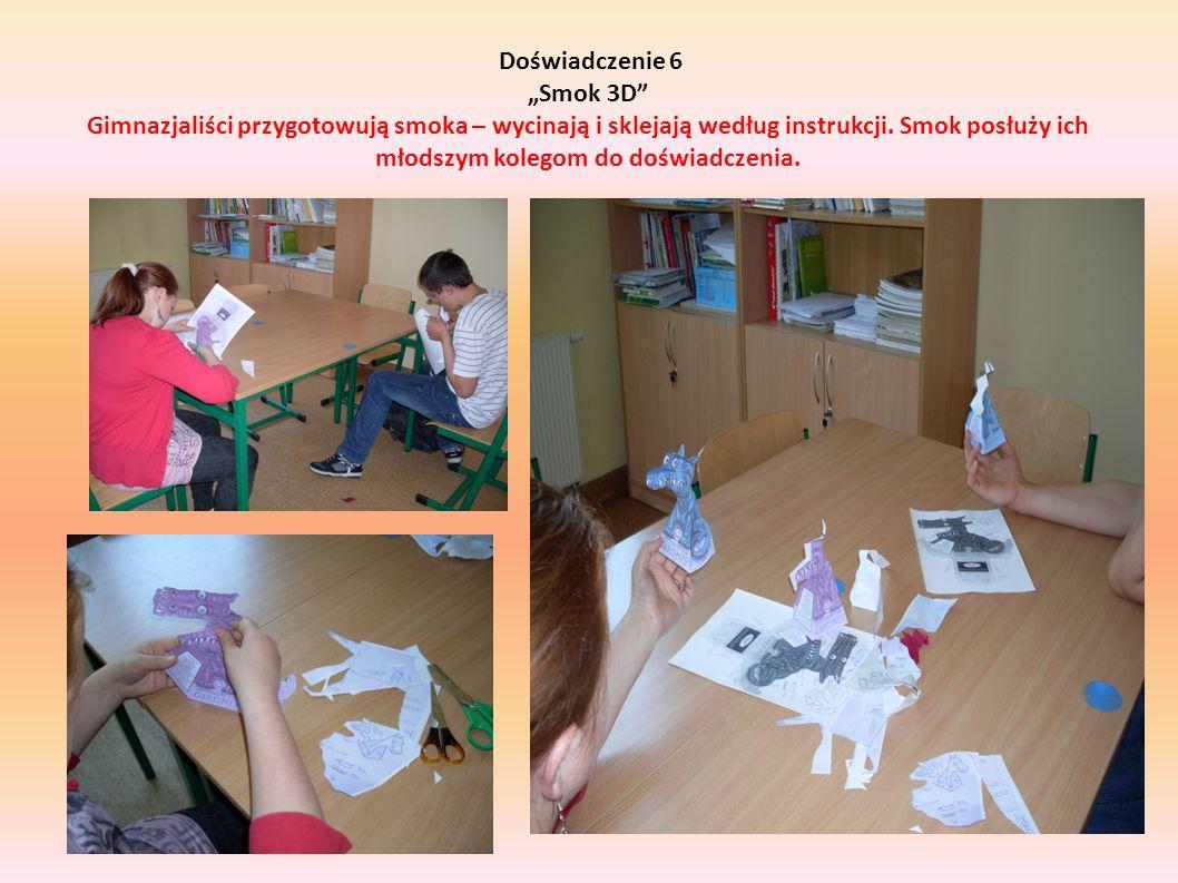 Doświadczenie 6 Smok 3D Gimnazjaliści przygotowują smoka – wycinają i sklejają według instrukcji. Smok posłuży ich młodszym kolegom do doświadczenia.