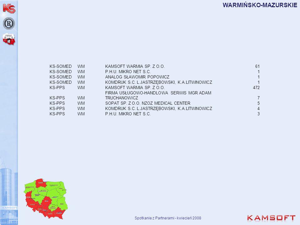 Spotkanie z Partnerami - kwiecień 2008 WARMIŃSKO-MAZURSKIE KS-SOMEDWMKAMSOFT WARMIA SP. Z O.O.61 KS-SOMEDWMP.H.U. MIKRO NET S.C.1 KS-SOMEDWMANALOG SŁA