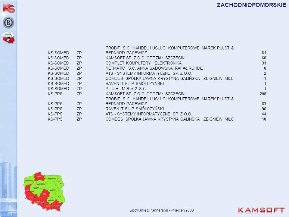 Spotkanie z Partnerami - kwiecień 2008 ZACHODNIOPOMORSKIE KS-SOMEDZP PROBIT S.C. HANDEL I USŁUGI KOMPUTEROWE MAREK PLUST & BERNARD PACEWICZ81 KS-SOMED