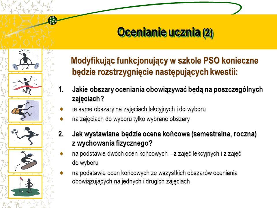 Ocenianie ucznia (2) Modyfikując funkcjonujący w szkole PSO konieczne będzie rozstrzygnięcie następujących kwestii: Modyfikując funkcjonujący w szkole