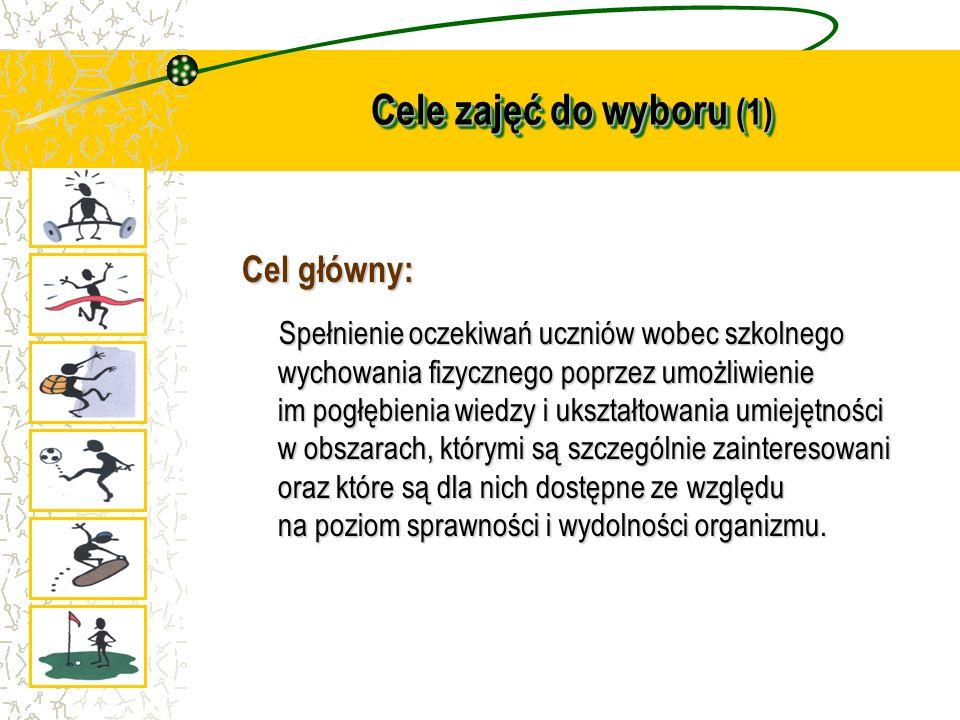 Cele zajęć do wyboru (1) Cel główny: Spełnienie oczekiwań uczniów wobec szkolnego wychowania fizycznego poprzez umożliwienie im pogłębienia wiedzy i u