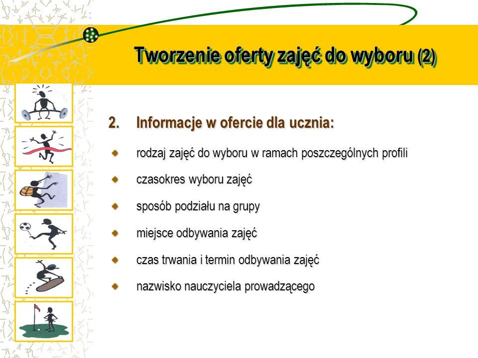 Tworzenie oferty zajęć do wyboru (2) 2.Informacje w ofercie dla ucznia: rodzaj zajęć do wyboru w ramach poszczególnych profili czasokres wyboru zajęć