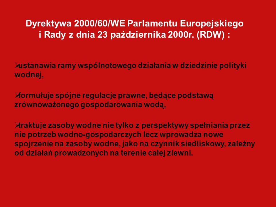 Dyrektywa 2000/60/WE Parlamentu Europejskiego i Rady z dnia 23 października 2000r. (RDW) : ustanawia ramy wspólnotowego działania w dziedzinie polityk