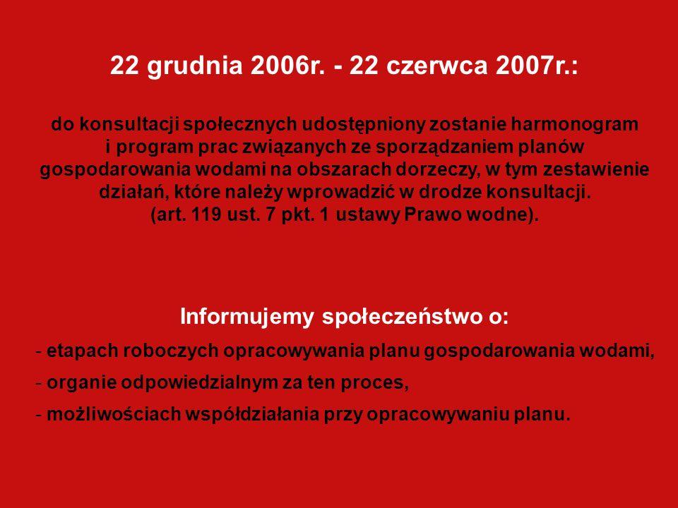 22 grudnia 2006r. - 22 czerwca 2007r.: do konsultacji społecznych udostępniony zostanie harmonogram i program prac związanych ze sporządzaniem planów