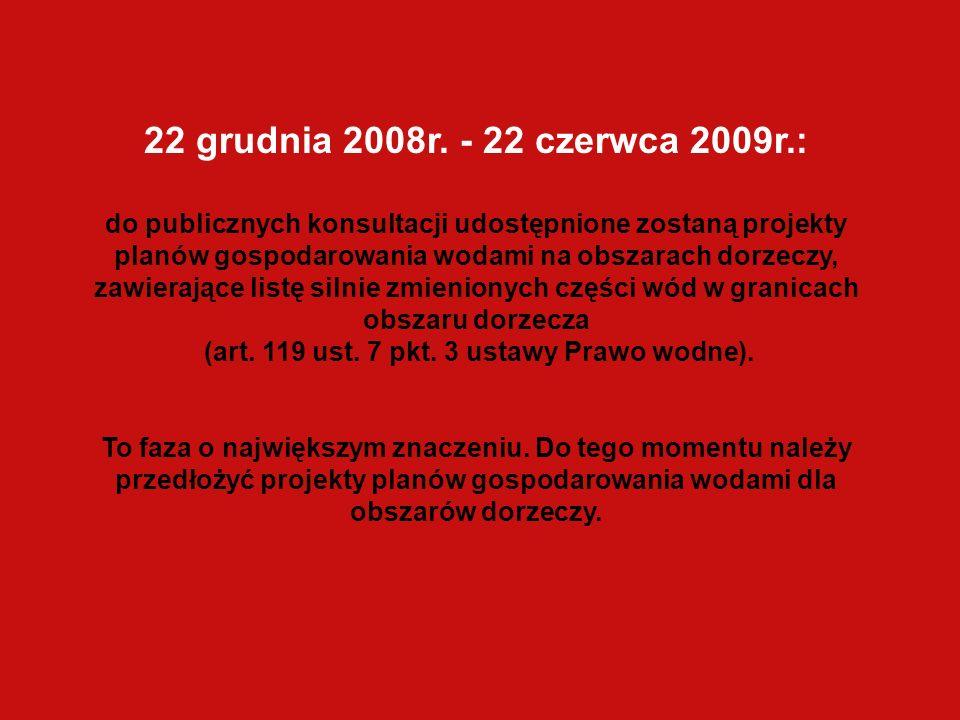 22 grudnia 2008r. - 22 czerwca 2009r.: do publicznych konsultacji udostępnione zostaną projekty planów gospodarowania wodami na obszarach dorzeczy, za
