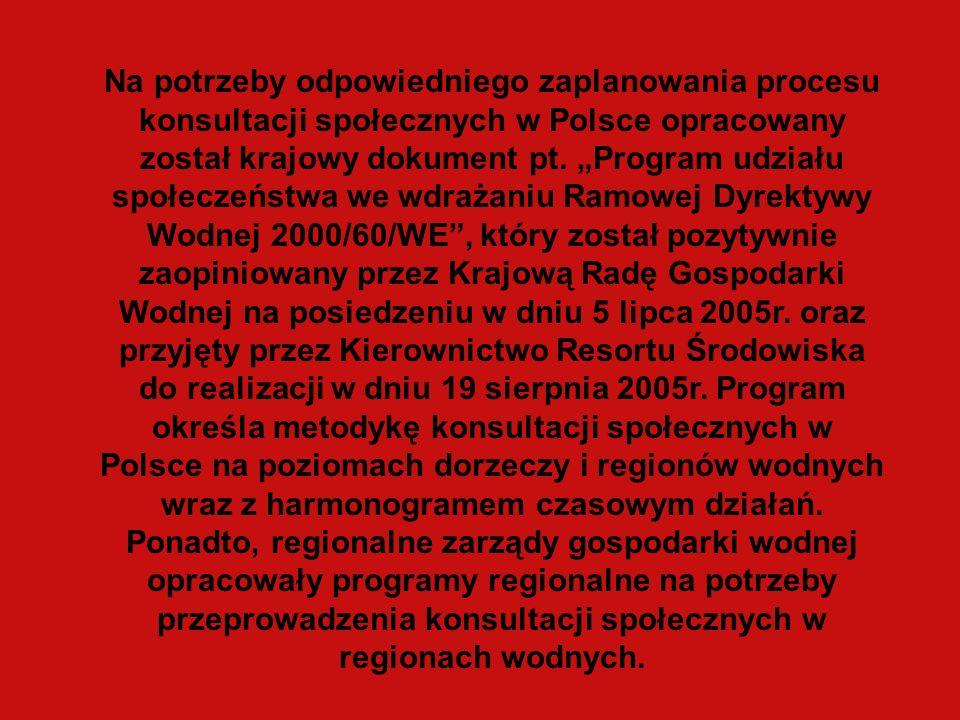 Na potrzeby odpowiedniego zaplanowania procesu konsultacji społecznych w Polsce opracowany został krajowy dokument pt. Program udziału społeczeństwa w