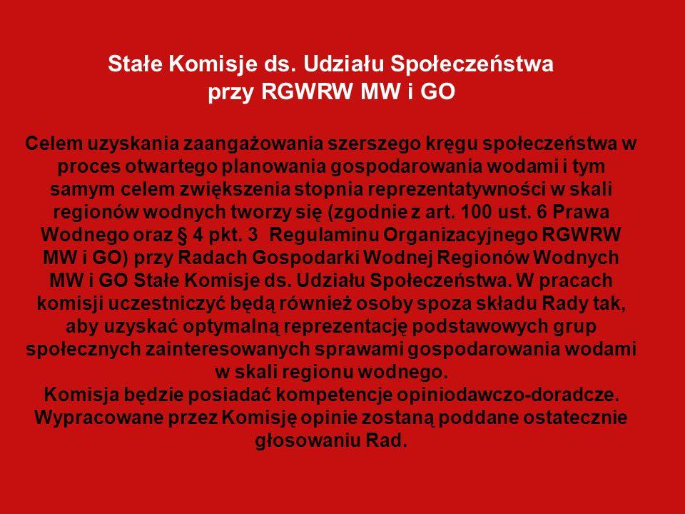 Stałe Komisje ds. Udziału Społeczeństwa przy RGWRW MW i GO Celem uzyskania zaangażowania szerszego kręgu społeczeństwa w proces otwartego planowania g