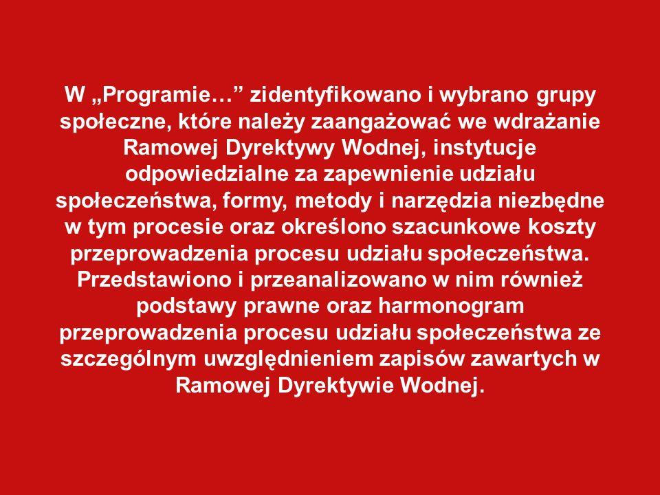 W Programie… zidentyfikowano i wybrano grupy społeczne, które należy zaangażować we wdrażanie Ramowej Dyrektywy Wodnej, instytucje odpowiedzialne za z