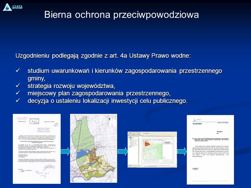 Uzgodnieniu podlegają zgodnie z art. 4a Ustawy Prawo wodne: studium uwarunkowań i kierunków zagospodarowania przestrzennego gminy, studium uwarunkowań
