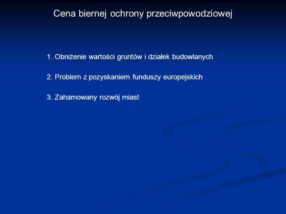 Cena biernej ochrony przeciwpowodziowej 1. Obniżenie wartości gruntów i działek budowlanych 2. Problem z pozyskaniem funduszy europejskich 3. Zahamowa