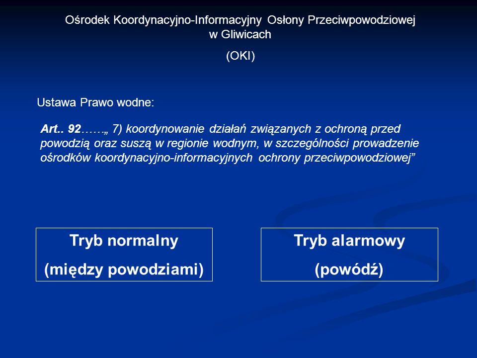 Ośrodek Koordynacyjno-Informacyjny Osłony Przeciwpowodziowej w Gliwicach (OKI) Ustawa Prawo wodne: Art.. 92…… 7) koordynowanie działań związanych z oc