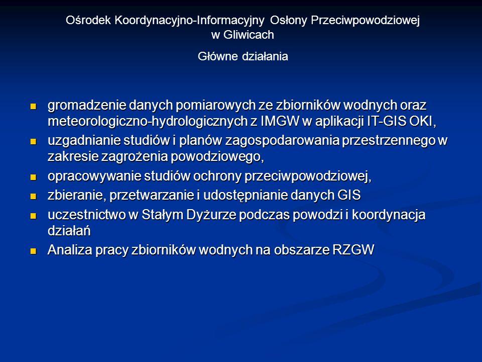 Ośrodek Koordynacyjno-Informacyjny Osłony Przeciwpowodziowej w Gliwicach Główne działania gromadzenie danych pomiarowych ze zbiorników wodnych oraz me