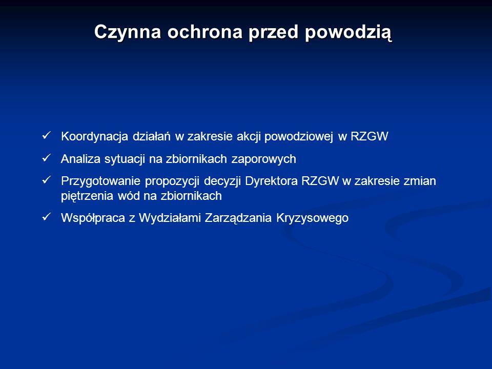 Czynna ochrona przed powodzią Koordynacja działań w zakresie akcji powodziowej w RZGW Analiza sytuacji na zbiornikach zaporowych Przygotowanie propozy