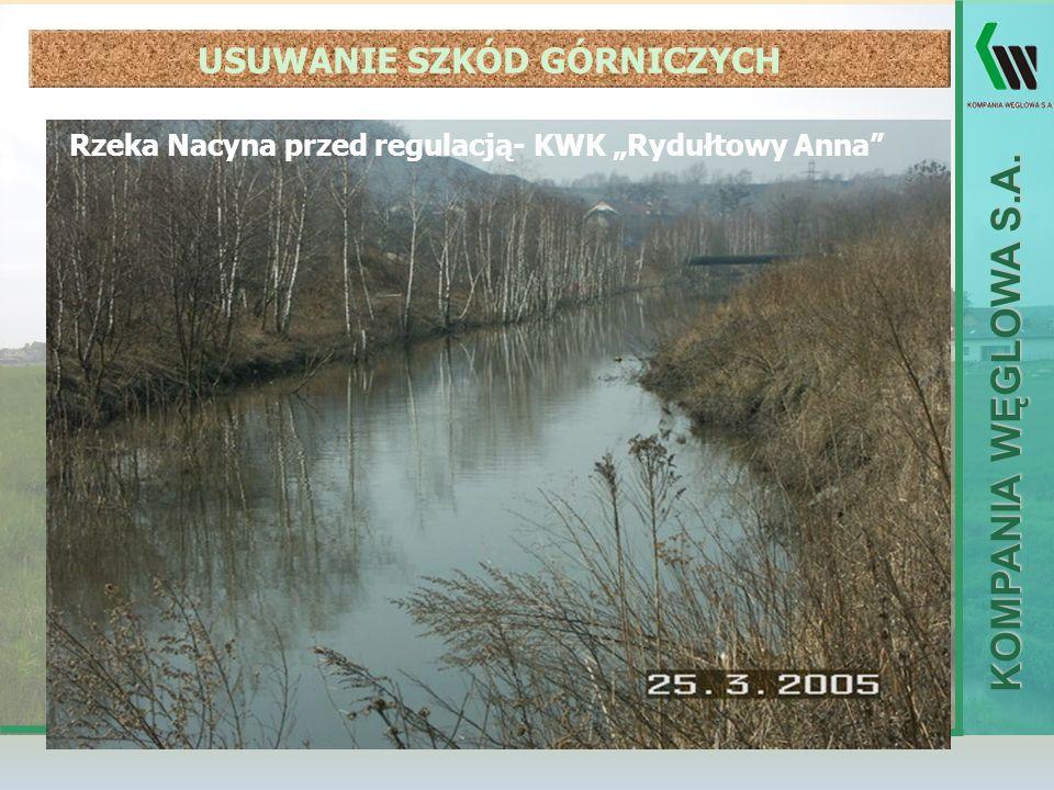 KOMPANIA WĘGLOWA S.A. Rzeka Nacyna przed regulacją- KWK Rydułtowy Anna USUWANIE SZKÓD GÓRNICZYCH