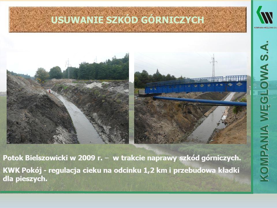 KOMPANIA WĘGLOWA S.A. USUWANIE SZKÓD GÓRNICZYCH Potok Bielszowicki w 2009 r. – w trakcie naprawy szkód górniczych. KWK Pokój - regulacja cieku na odci