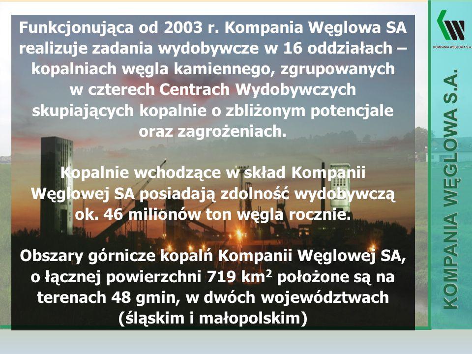 KOMPANIA WĘGLOWA S.A. Funkcjonująca od 2003 r. Kompania Węglowa SA realizuje zadania wydobywcze w 16 oddziałach – kopalniach węgla kamiennego, zgrupow