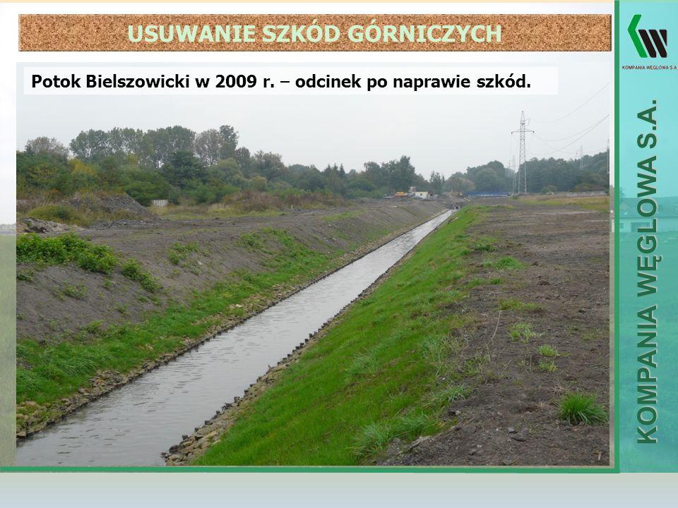 KOMPANIA WĘGLOWA S.A. Potok Bielszowicki w 2009 r. – odcinek po naprawie szkód. USUWANIE SZKÓD GÓRNICZYCH