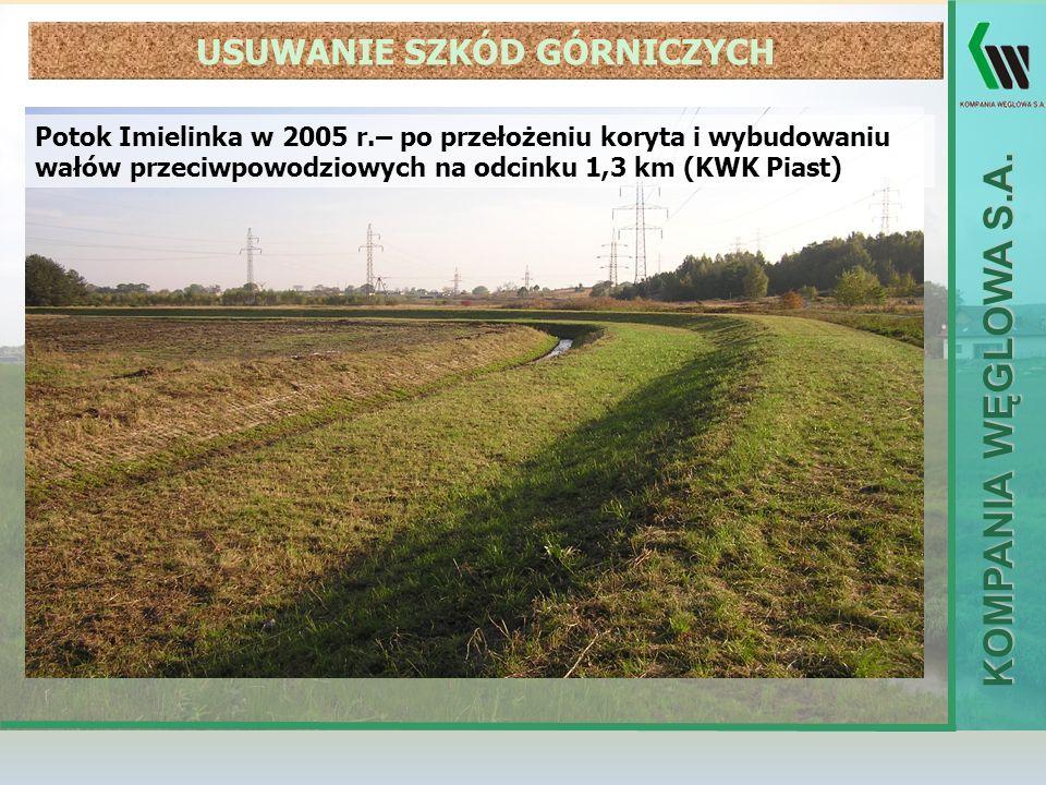 KOMPANIA WĘGLOWA S.A. Potok Imielinka w 2005 r.– po przełożeniu koryta i wybudowaniu wałów przeciwpowodziowych na odcinku 1,3 km (KWK Piast) USUWANIE