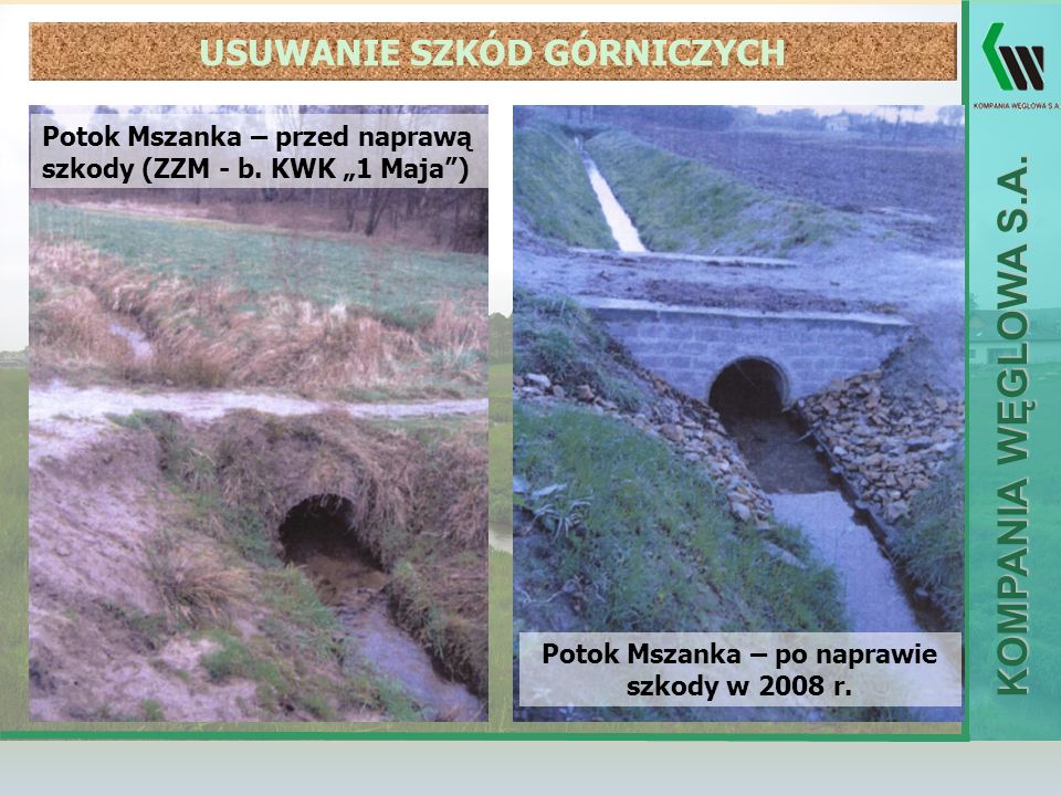 KOMPANIA WĘGLOWA S.A. Potok Mszanka – przed naprawą szkody (ZZM - b. KWK 1 Maja) Potok Mszanka – po naprawie szkody w 2008 r. USUWANIE SZKÓD GÓRNICZYC