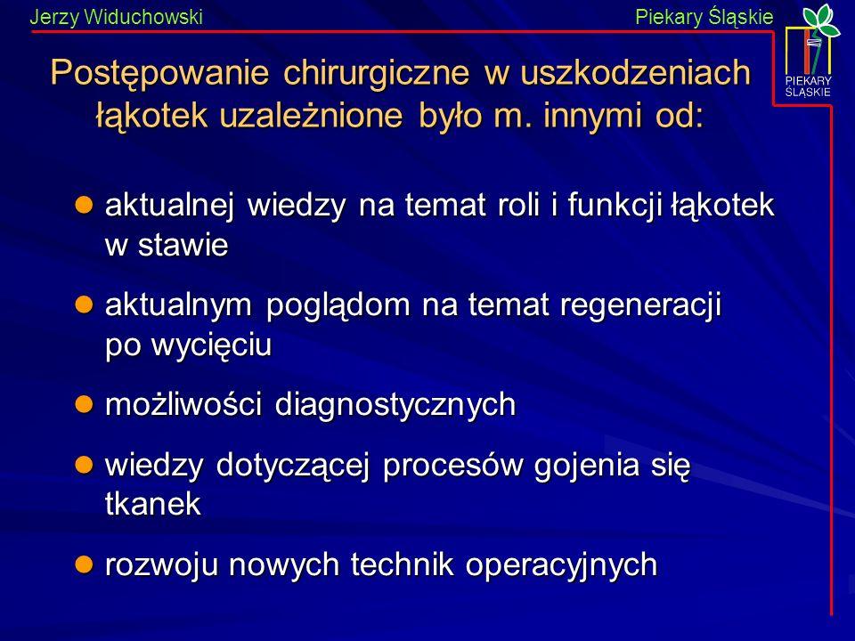 Piekary Śląskie Jerzy WiduchowskiPiekary Śląskie Postępowanie chirurgiczne w uszkodzeniach łąkotek uzależnione było m. innymi od: aktualnej wiedzy na