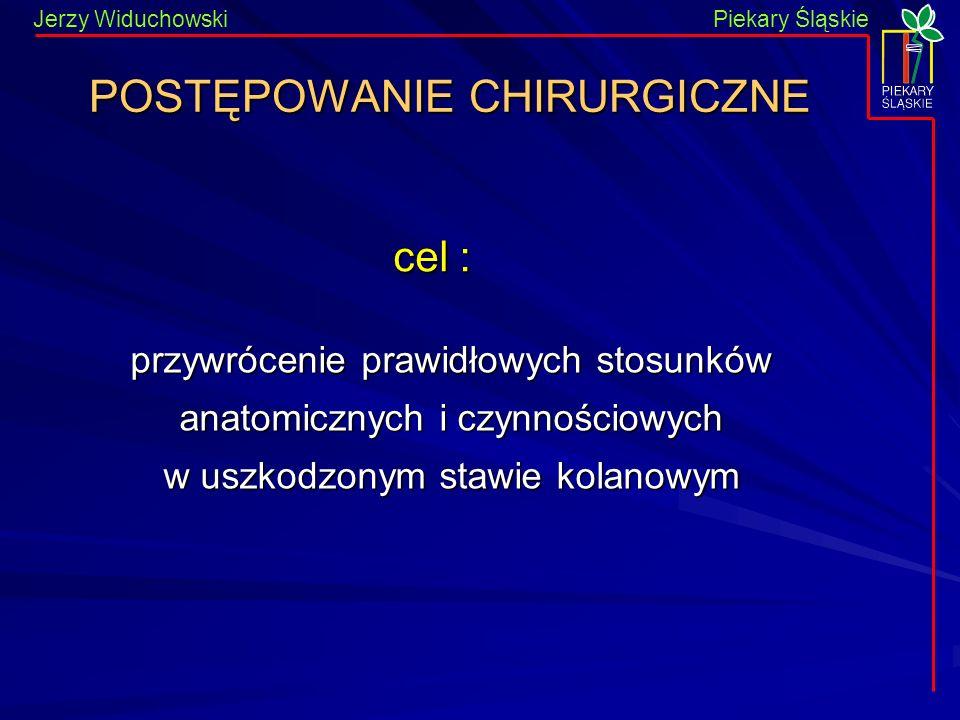 Piekary Śląskie Jerzy WiduchowskiPiekary Śląskie POSTĘPOWANIE CHIRURGICZNE przywrócenie prawidłowych stosunków anatomicznych i czynnościowych w uszkodzonym stawie kolanowym cel :