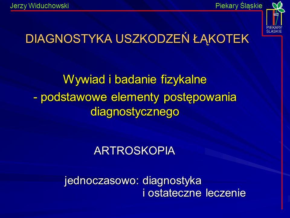 Piekary Śląskie Jerzy WiduchowskiPiekary Śląskie ARTROSKOPIA ARTROSKOPIA jednoczasowo: diagnostyka i ostateczne leczenie DIAGNOSTYKA USZKODZEŃ ŁĄKOTEK