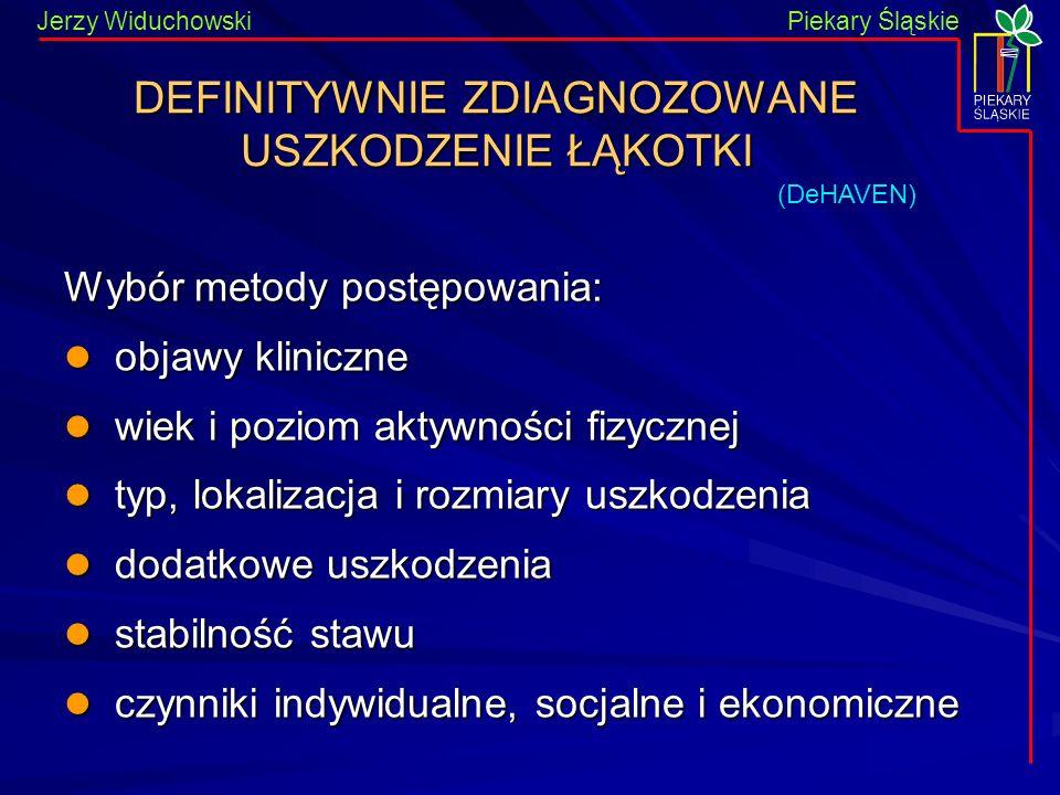 Piekary Śląskie Jerzy WiduchowskiPiekary Śląskie DEFINITYWNIE ZDIAGNOZOWANE USZKODZENIE ŁĄKOTKI Wybór metody postępowania: objawy kliniczne objawy kli