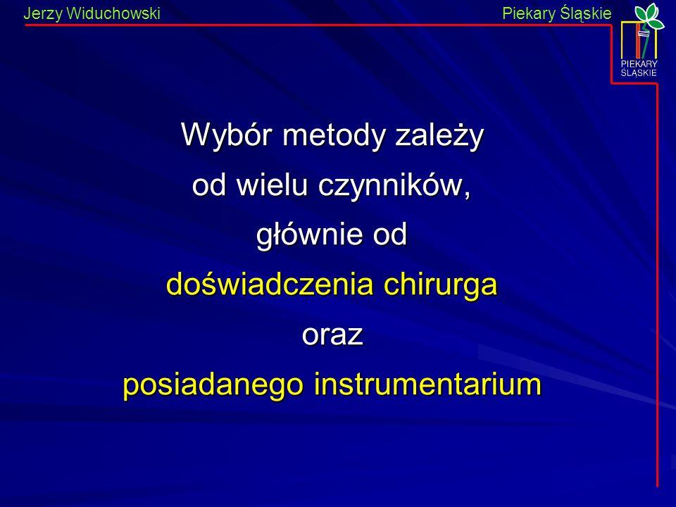 Piekary Śląskie Jerzy WiduchowskiPiekary Śląskie Wybór metody zależy od wielu czynników, głównie od doświadczenia chirurga oraz posiadanego instrumentarium
