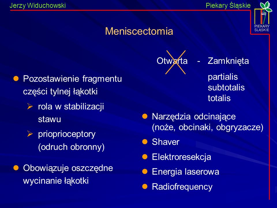Jerzy WiduchowskiPiekary Śląskie Pozostawienie fragmentu części tylnej łąkotki rola w stabilizacji stawu prioprioceptory (odruch obronny) Obowiązuje o