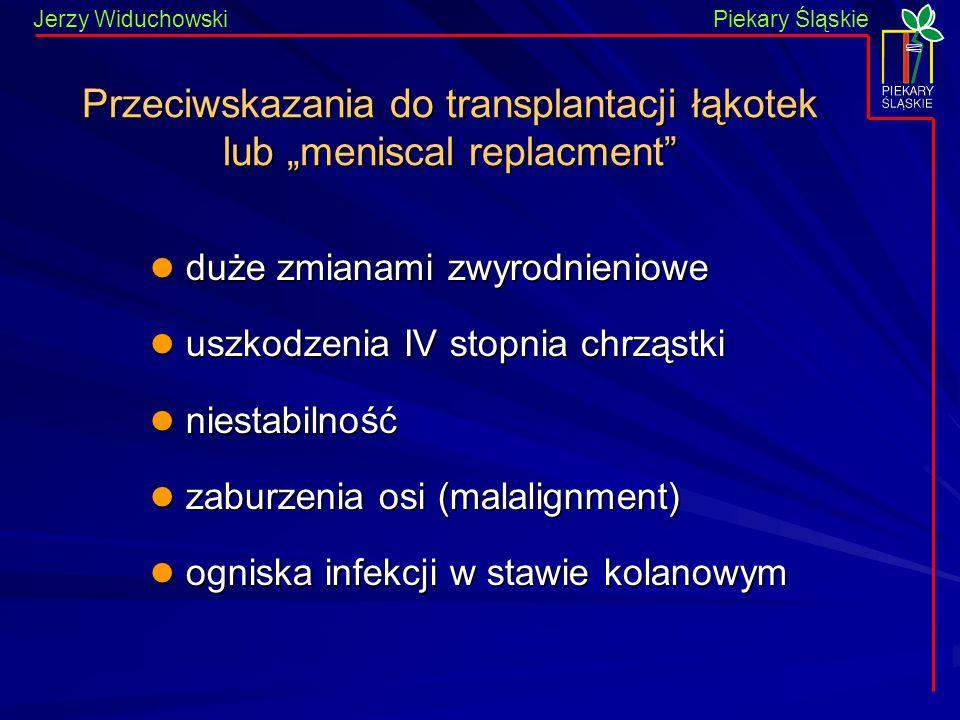 Piekary Śląskie Jerzy WiduchowskiPiekary Śląskie Przeciwskazania do transplantacji łąkotek lub meniscal replacment duże zmianami zwyrodnieniowe duże z
