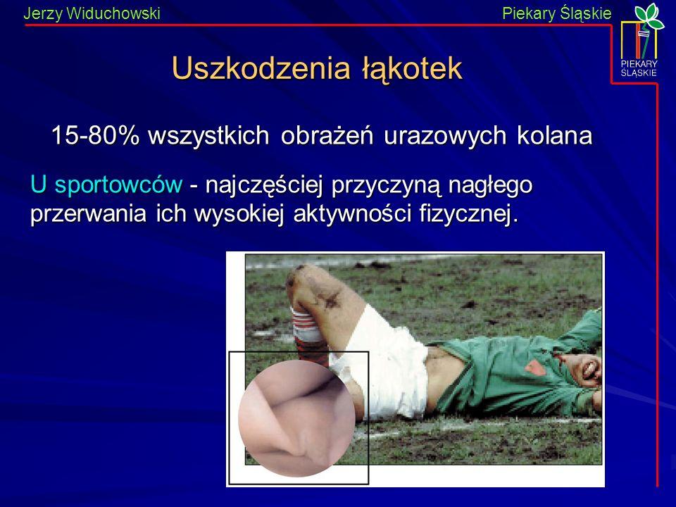 Piekary Śląskie Jerzy WiduchowskiPiekary Śląskie Uszkodzenia łąkotek 15-80% wszystkich obrażeń urazowych kolana U sportowców - najczęściej przyczyną n