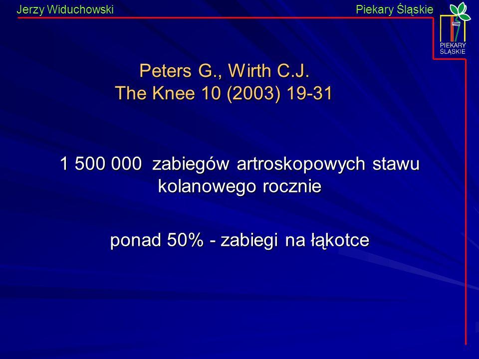 Piekary Śląskie Jerzy WiduchowskiPiekary Śląskie Peters G., Wirth C.J. The Knee 10 (2003) 19-31 1 500 000 zabiegów artroskopowych stawu kolanowego roc