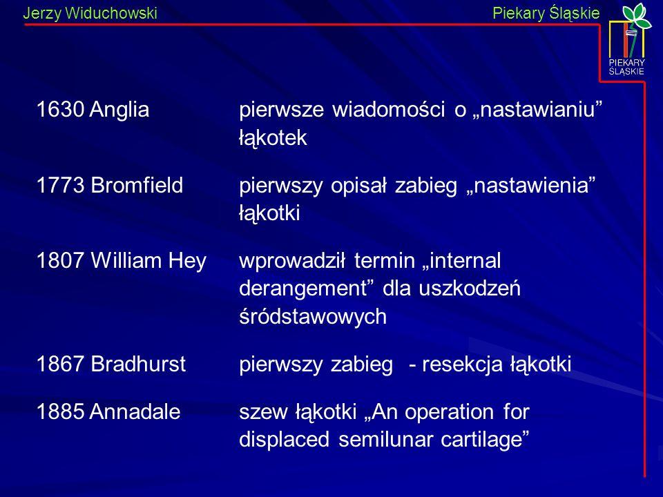 Piekary Śląskie Jerzy WiduchowskiPiekary Śląskie 1630 Anglia 1773 Bromfield 1807 William Hey 1867 Bradhurst 1885 Annadale pierwsze wiadomości o nastawianiu łąkotek pierwszy opisał zabieg nastawienia łąkotki wprowadził termin internal derangement dla uszkodzeń śródstawowych pierwszy zabieg - resekcja łąkotki szew łąkotki An operation for displaced semilunar cartilage