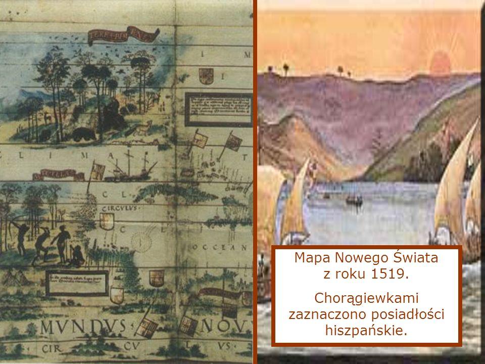 Mapa Nowego Świata z roku 1519. Chorągiewkami zaznaczono posiadłości hiszpańskie.