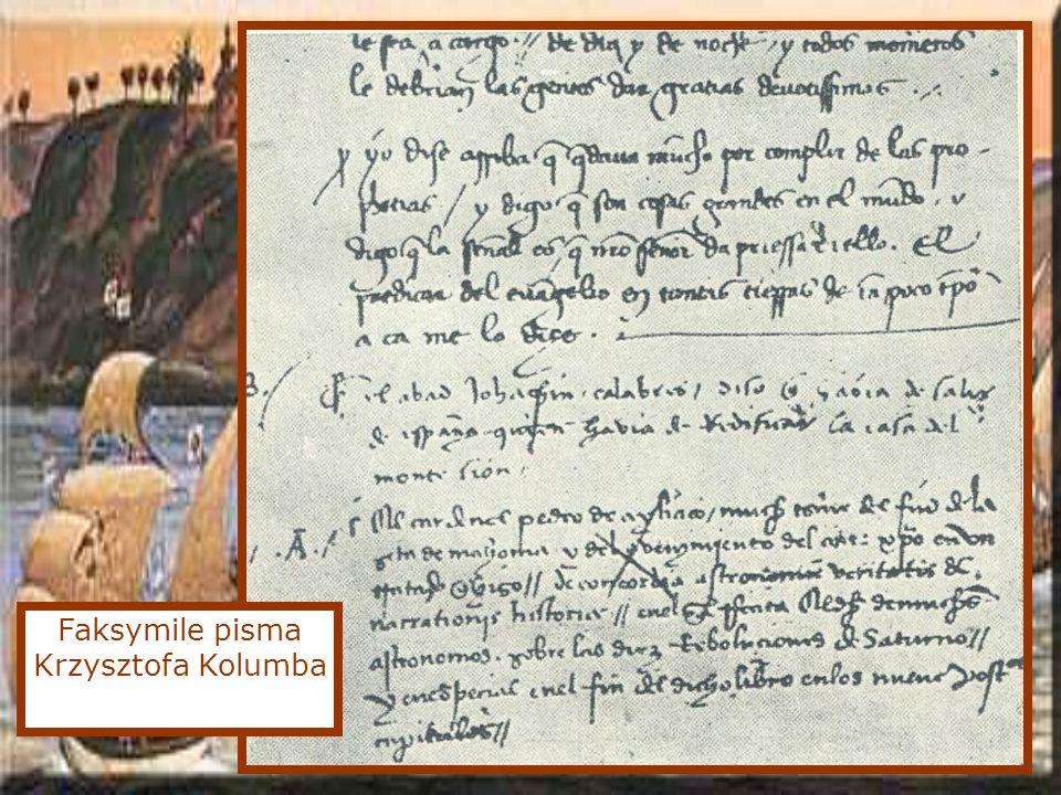 Faksymile pisma Krzysztofa Kolumba