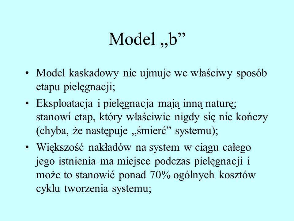 Model b Model kaskadowy nie ujmuje we właściwy sposób etapu pielęgnacji; Eksploatacja i pielęgnacja mają inną naturę; stanowi etap, który właściwie ni