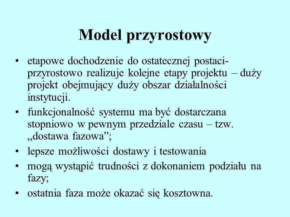Model przyrostowy etapowe dochodzenie do ostatecznej postaci- przyrostowo realizuje kolejne etapy projektu – duży projekt obejmujący duży obszar dział